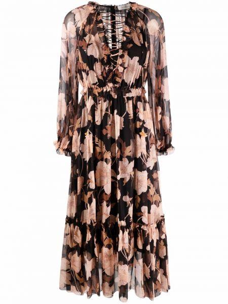 Платье миди в цветочный принт - черное Zimmermann