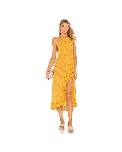 Желтое платье миди с бахромой с поясом Sundress