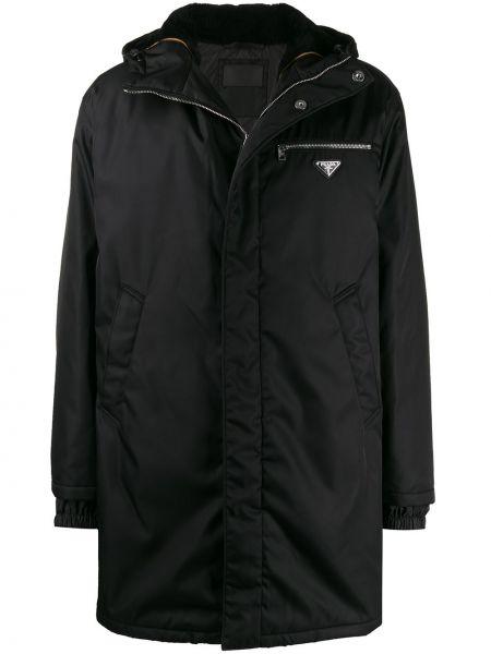 Płaszcz przeciwdeszczowy z kieszeniami czarny Prada
