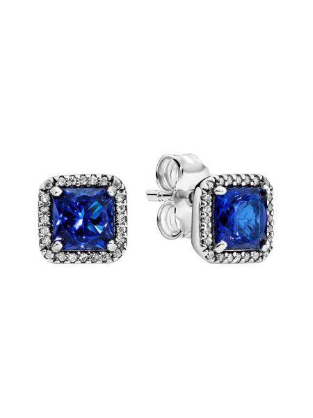 Синие классические серебряные серьги с камнями Pandora