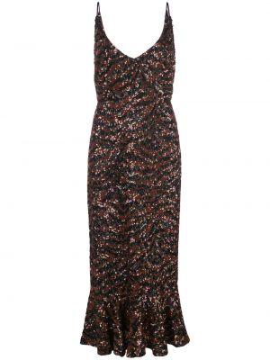Платье миди с открытой спиной с баской Saloni