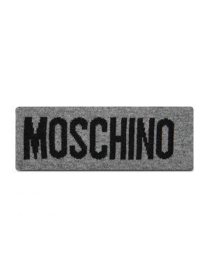Szara z kaszmiru czapka Moschino
