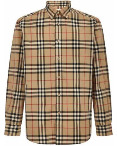 Beżowa klasyczna koszula bawełniana z długimi rękawami Burberry