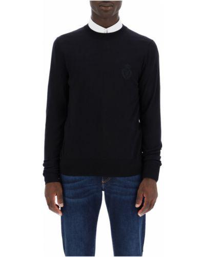 Czarny sweter z haftem Dolce And Gabbana
