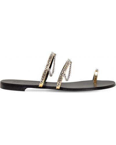 Кожаные стринги золотые на каблуке Giuseppe Zanotti