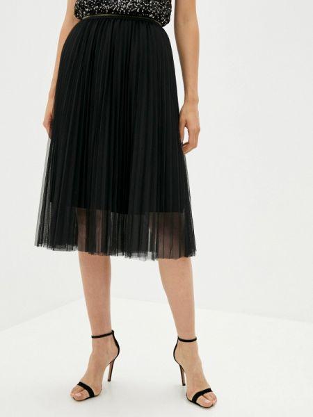 Плиссированная черная плиссированная юбка Shelter