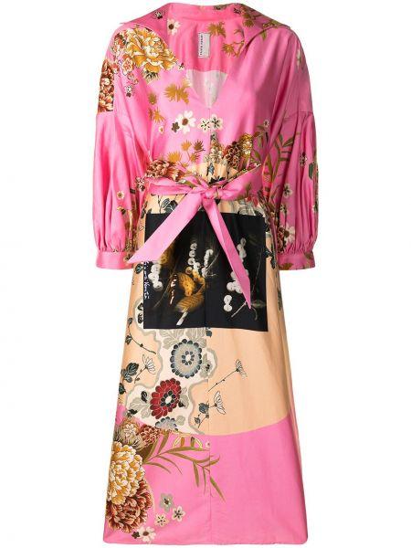 Różowa sukienka rozkloszowana w kwiaty Antonio Marras