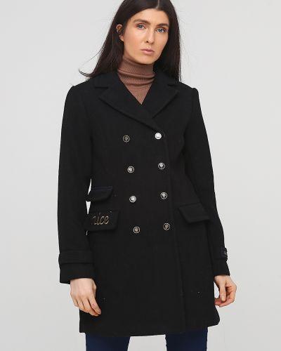 Черное пальто на пуговицах с подкладкой Kookai