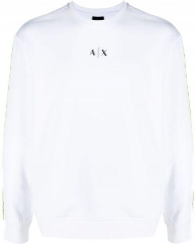 Флисовая белая толстовка с вырезом Armani Exchange