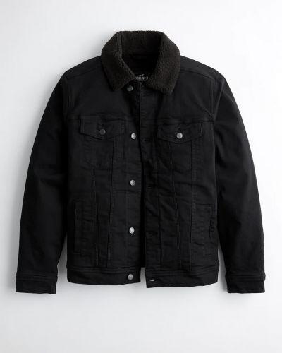 Джинсовая куртка с мехом - черная Hollister