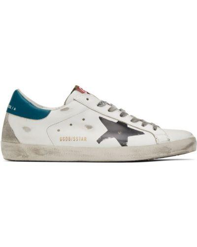 Czarny włókienniczy skórzane sneakersy perforowany z łatami Golden Goose