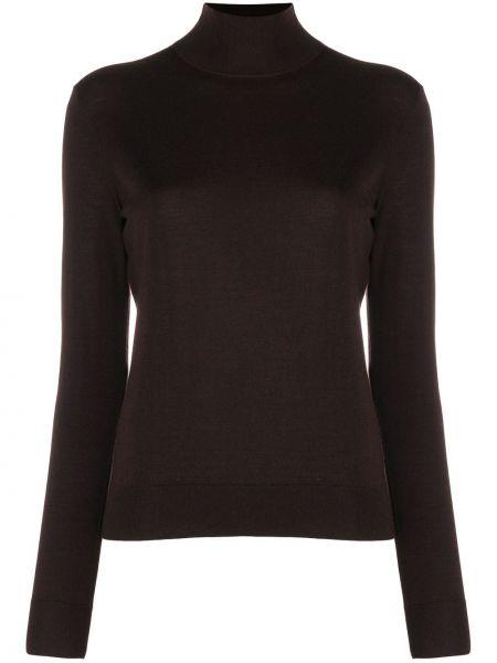 С рукавами шерстяной коричневый вязаный свитер Theory