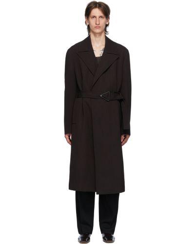 Brązowy długi płaszcz wełniany z paskiem Bottega Veneta