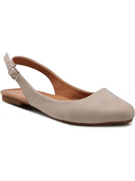 Sandały skórzane - beżowe Badura