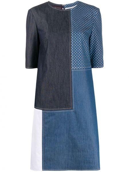 Синее платье мини с вырезом на молнии с короткими рукавами Talbot Runhof