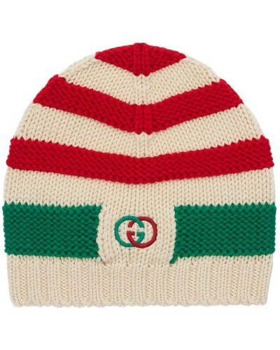 Wełniany biały kapelusz z haftem Gucci