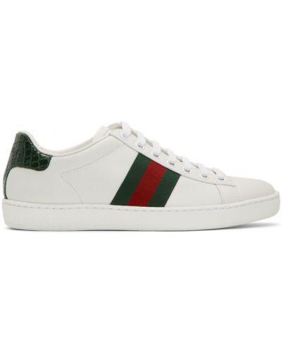 Ażurowy zielony skórzane sneakersy na sznurowadłach okrągły Gucci