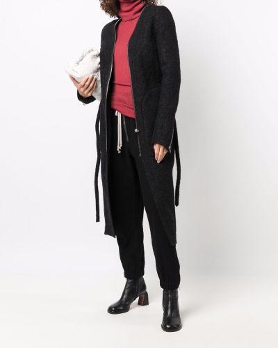Черное пальто из мохера Rick Owens