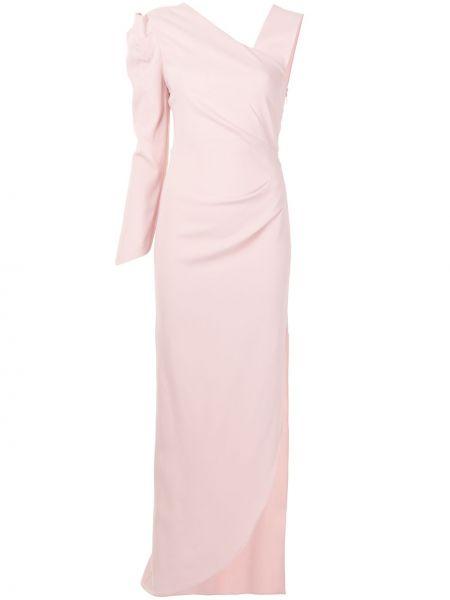 С рукавами розовое платье макси на одно плечо Ginger & Smart