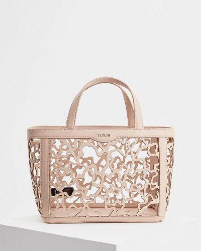 Бежевая кожаный сумка Tous