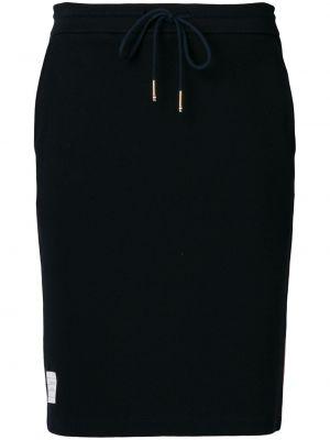 Хлопковая прямая синяя с завышенной талией юбка Thom Browne