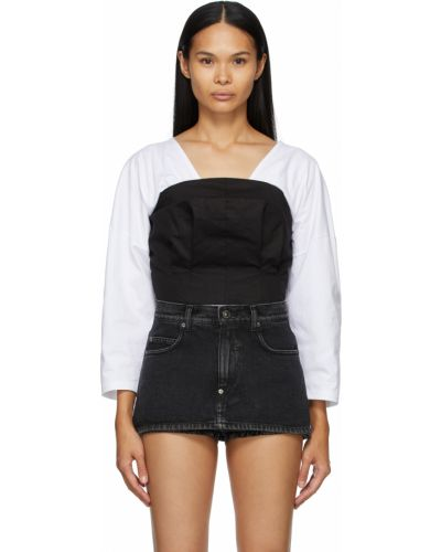 Czarna bluzka z długimi rękawami bawełniana Pushbutton