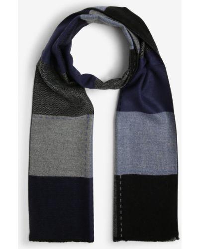 Niebieski szalik z frędzlami Finshley & Harding