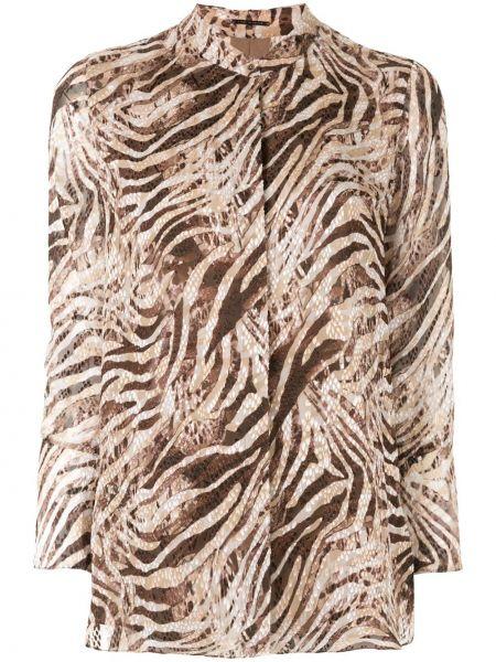 Brązowa bluzka asymetryczna z wiskozy Elie Tahari