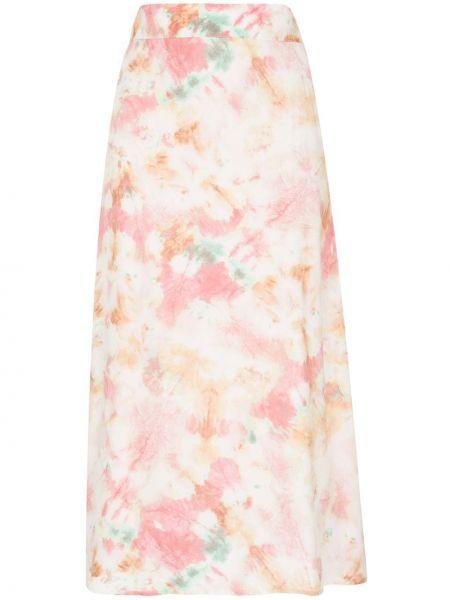 Розовая с завышенной талией юбка миди в рубчик Auguste