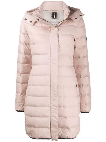 С рукавами пуховое розовое стеганое пальто с перьями Ecoalf