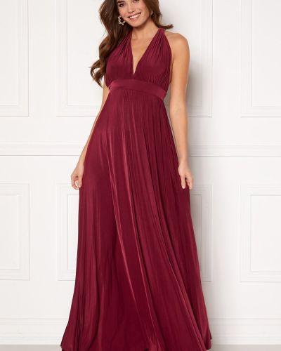 Плиссированное красное коктейльное платье с драпировкой Goddiva