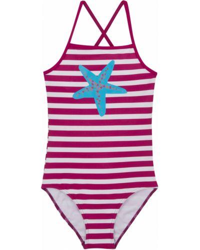 Фиолетовый слитный купальник для бассейна в полоску Bonprix