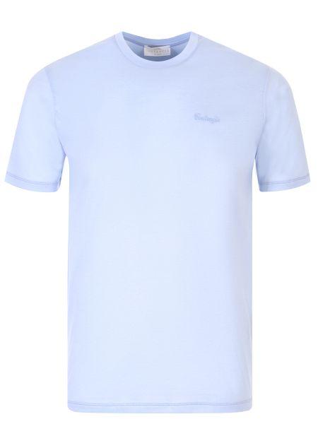 Хлопковая футболка с вышивкой с круглым вырезом с короткими рукавами Castangia