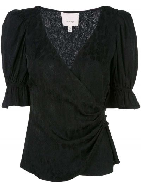 Блузка с коротким рукавом с запахом батник Cinq A Sept