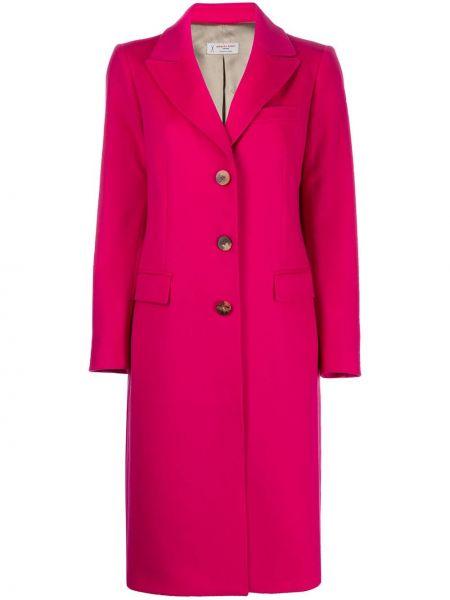 Однобортное шерстяное розовое длинное пальто Alberto Biani