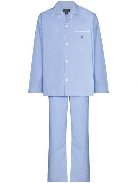 Niebieska piżama bawełniana z długimi rękawami Polo Ralph Lauren