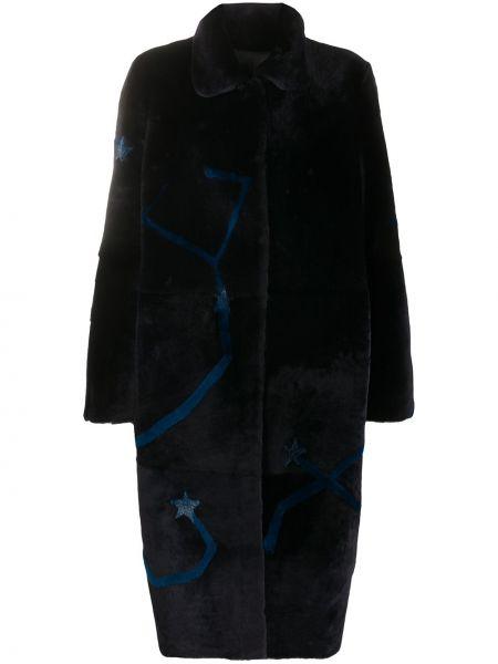 Длинное пальто без воротника на кнопках Liska