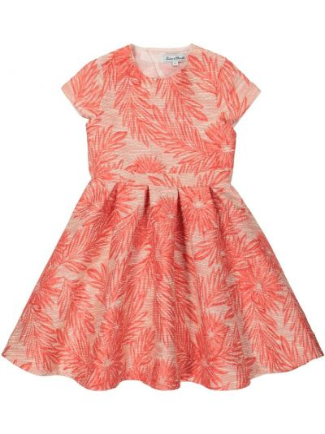 Плиссированное хлопковое розовое платье Tartine Et Chocolat