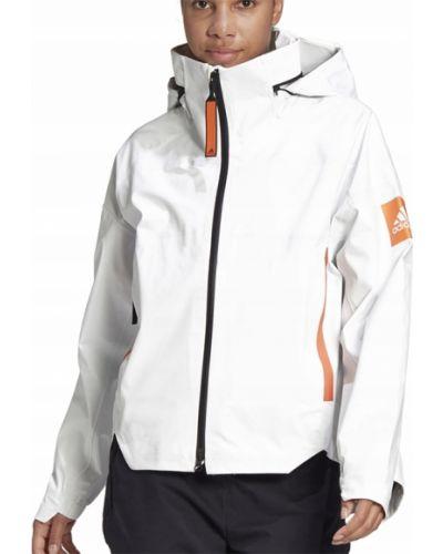 Biała kurtka przeciwdeszczowa z kapturem z nylonu Adidas