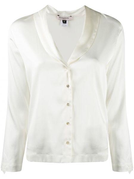 Шелковая рубашка с жемчугом на пуговицах с вырезом Gilda & Pearl