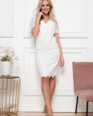 Платье мини футляр с V-образным вырезом Leleya
