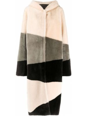 Однобортное коралловое длинное пальто с карманами из овчины Liska