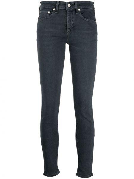 Хлопковые синие укороченные джинсы со складками Rag & Bone