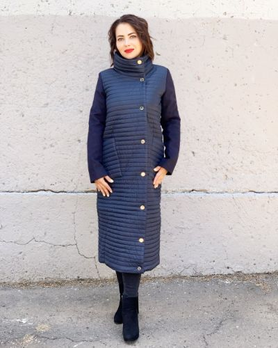 Кашемировое пальто - синее Khan