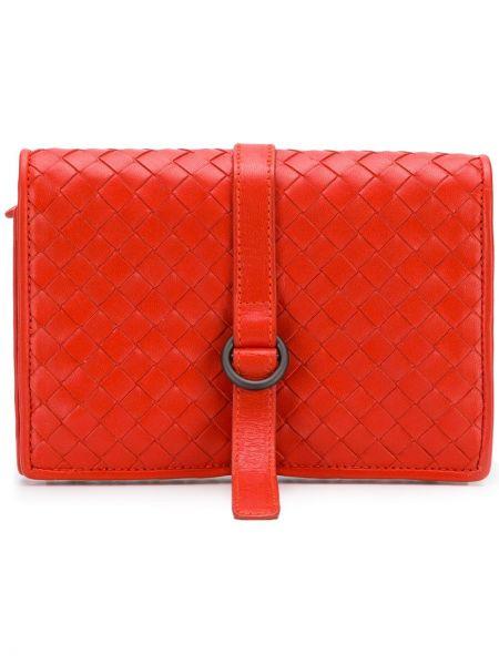 Красный кожаный кошелек винтажный прямоугольный на молнии Bottega Veneta Pre-owned