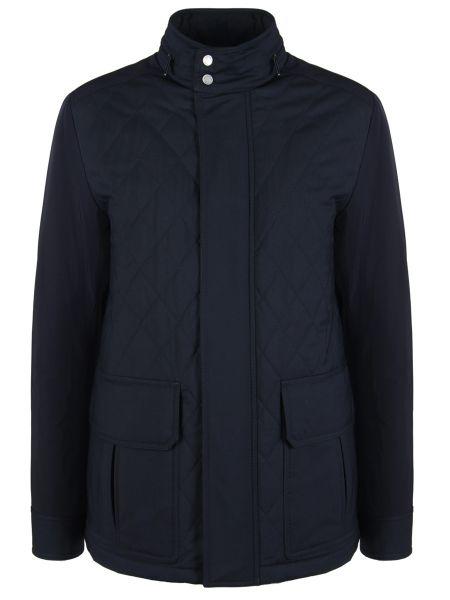 Синяя стеганая куртка на молнии с карманами с воротником Ermenegildo Zegna
