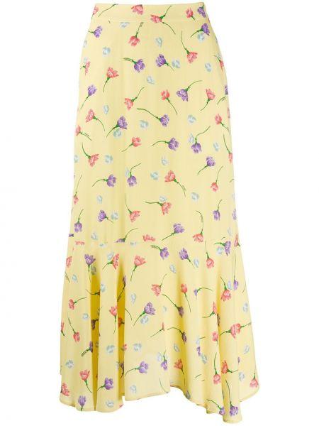 Желтая асимметричная юбка миди из вискозы Markus Lupfer