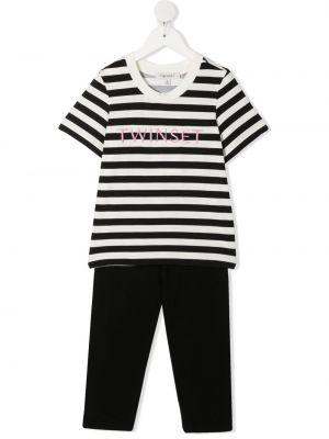 Czarny dres bawełniany krótki rękaw Twinset Kids
