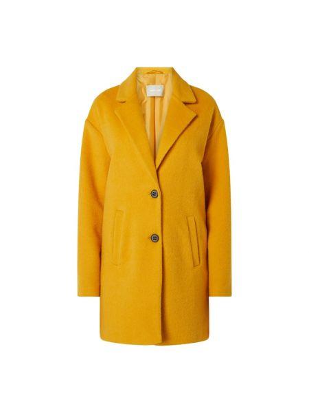 Żółty płaszcz wełniany z bursztynem Amber & June