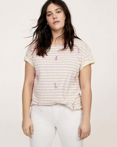 Бежевая футболка Violeta By Mango